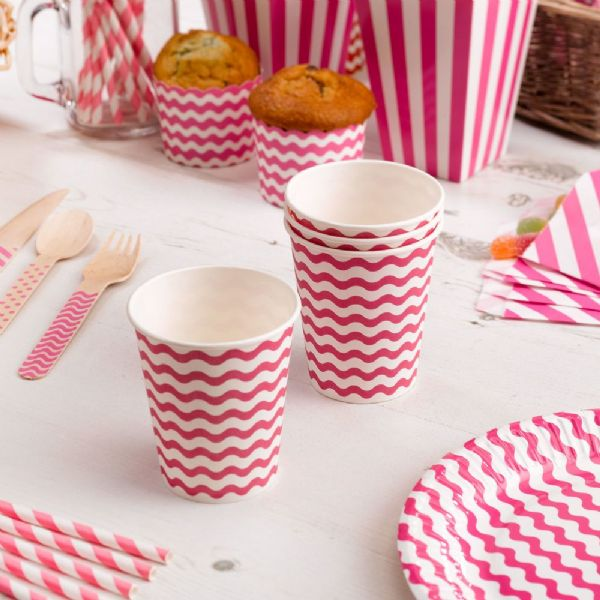 Carnival Pink Paper Cups - Waves (8)